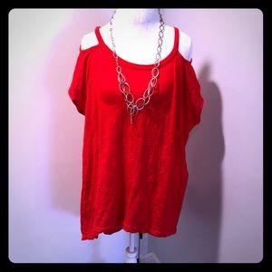 Red bare shoulder top size Large